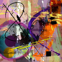 Obraz abstract background composition, with paint strokes, splashes and geometric lines