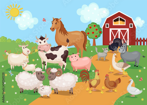 Foto  Illustration with farm animals and birds
