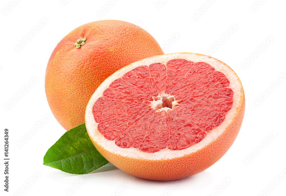 Fotografie, Obraz Orange grapefruit on white