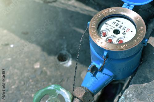 Fotografie, Obraz  Close up water meter blue color in thailand.