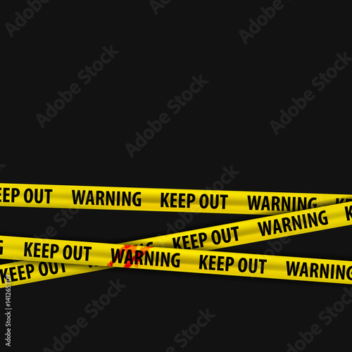 Photo  Police yellow stripes keep out with a stain of blood and warning signs