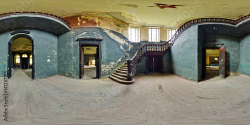 Fotobehang Rudnes Full 360 degree panorama in equirectangular spherical projection in old abandoned farmstead. Photorealistic VR content