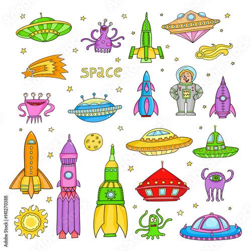 Foto op Aluminium Kosmos Vector set with cartoon space objects: ufo rockets, astronaut