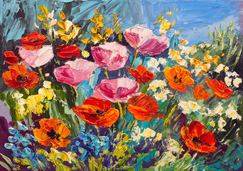 Obraz na Plexi Oil painting of spring flowers on canvas, art work
