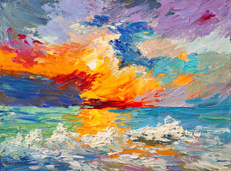 Fototapeta Marynistyczny Oil painting of the sea, multicolored sunset on the horizon, watercolor