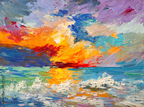 Oil painting of the sea, multicolored sunset on the horizon, watercolor - 141271349