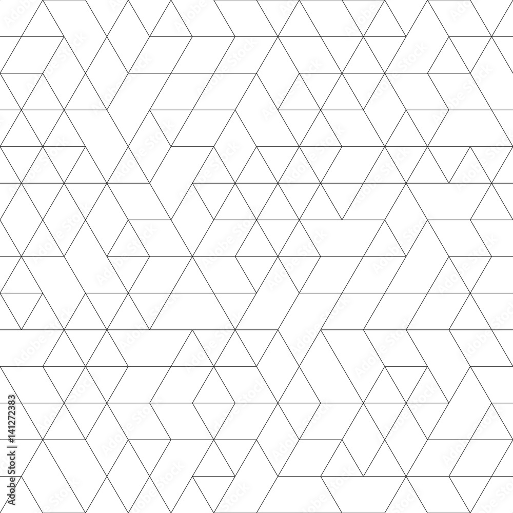 Fototapeta Seamless black and white background for your designs. Modern vector ornament. Geometric abstract pattern