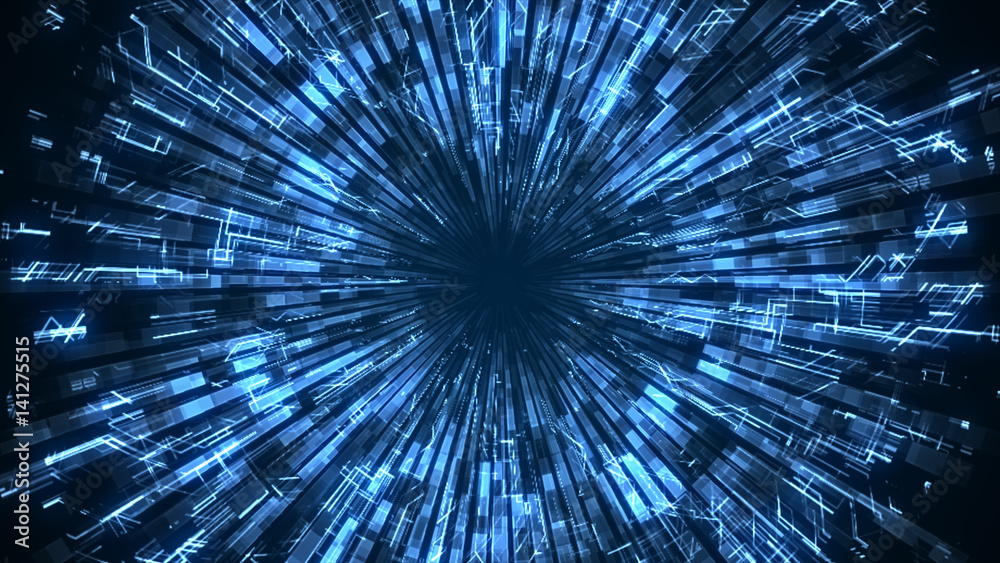 Fototapety, obrazy: An abstract smooth blue luminous circle grows and damps