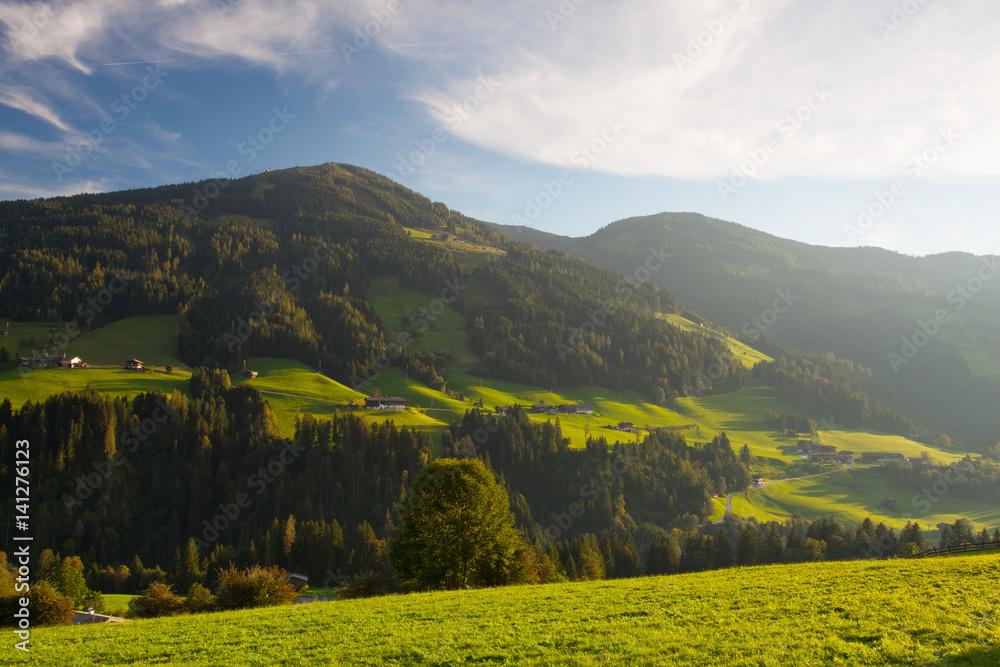 Fototapeta The alpine village of Alpbach and the Alpbachtal, Austria. - obraz na płótnie