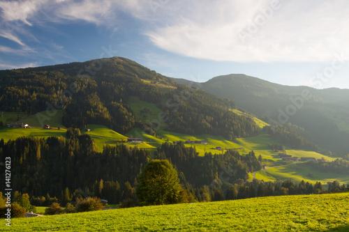 Fototapeta The alpine village of Alpbach and the Alpbachtal, Austria. obraz na płótnie