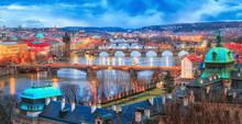 Prague At Twilight, View Of Bridges On Vltava. Panorama View At Vltava River Delta In Prague With Famous View On Bridges Vista. Twilight Scenery. Czech Republic.