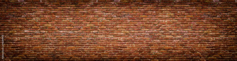 Fototapety, obrazy: grunge brick wall, old brickwork panoramic view