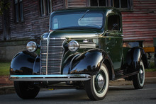 Classic Shining Pickup Truck With Natural Back Round