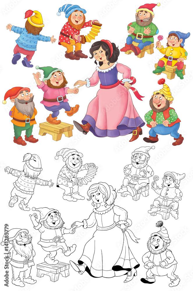Królewna Śnieżka i siedmiu krasnoludków. Kolorowanka. Bajka. Ilustracja dla  dzieci. Słodkie i zabawne postacie z kreskówek #141285779 - Postacie z bajek  dla dzieci - Obrazy na płótnie | ecowall24.pl