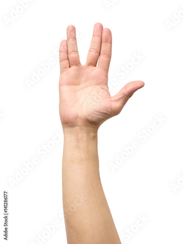 Fotomural Male hand showing Vulcan Salute isolated