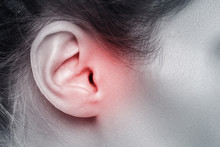 Female Ear With Source Of Pain