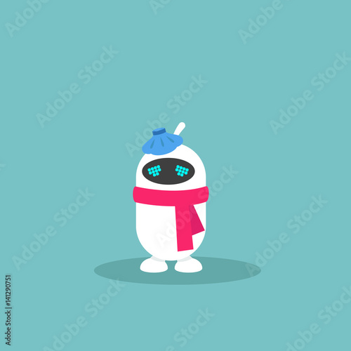 virus conceptual illustration sick robot wearing red scarf and ice