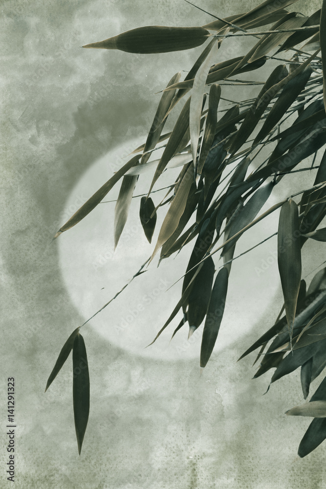 Traditional asian painting. Bamboo on old antique vintage paper background