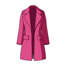 Blue Female Restrained Coat Buttoned. Women's Outerwear..Women Clothing Single Icon In Cartoon Style Vector Symbol Stock Illustration.