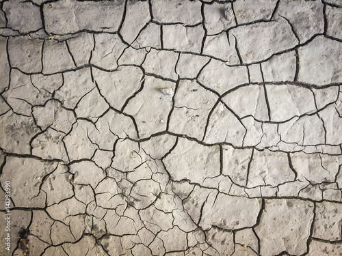 Tableau sur Toile Dry land in cracks, arid background.