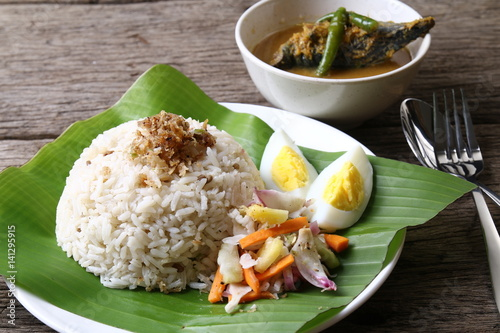 Fotografía  Nasi dagang, a popular Malaysian meal on the east coast of the Malaysian Peninsular