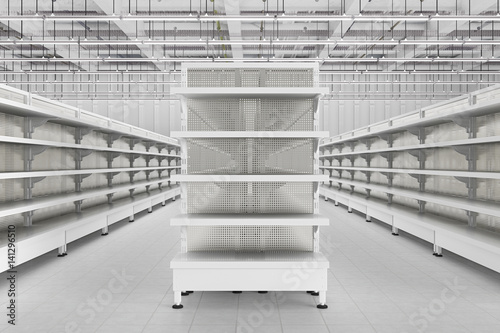 Amazing Store Interior With Empty Supermarket Shelves Buy This Home Remodeling Inspirations Genioncuboardxyz