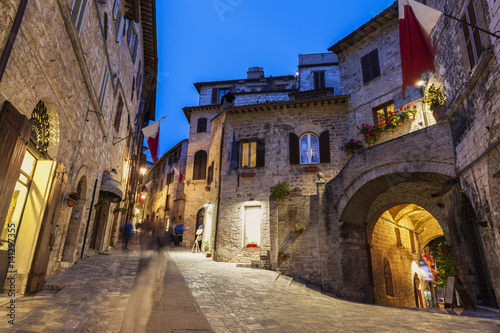 Old town of Assisi at night Canvas Print
