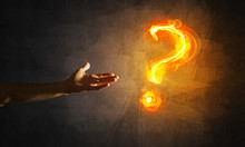 Concept Of Help Or Support With Fire Burning Question Mark And Creation Gesture