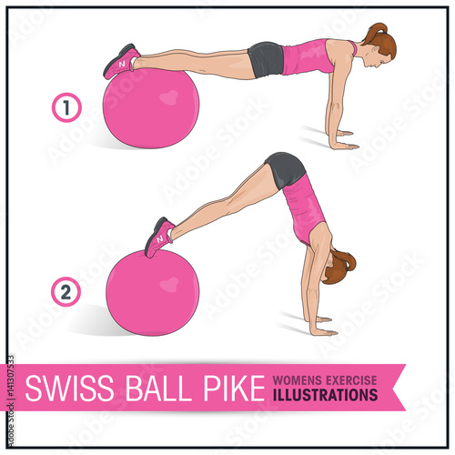 Foto op Plexiglas Fitness Swiss ball pike female exercise illustration