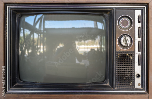 Printed kitchen splashbacks Khaki close up old classic television for background