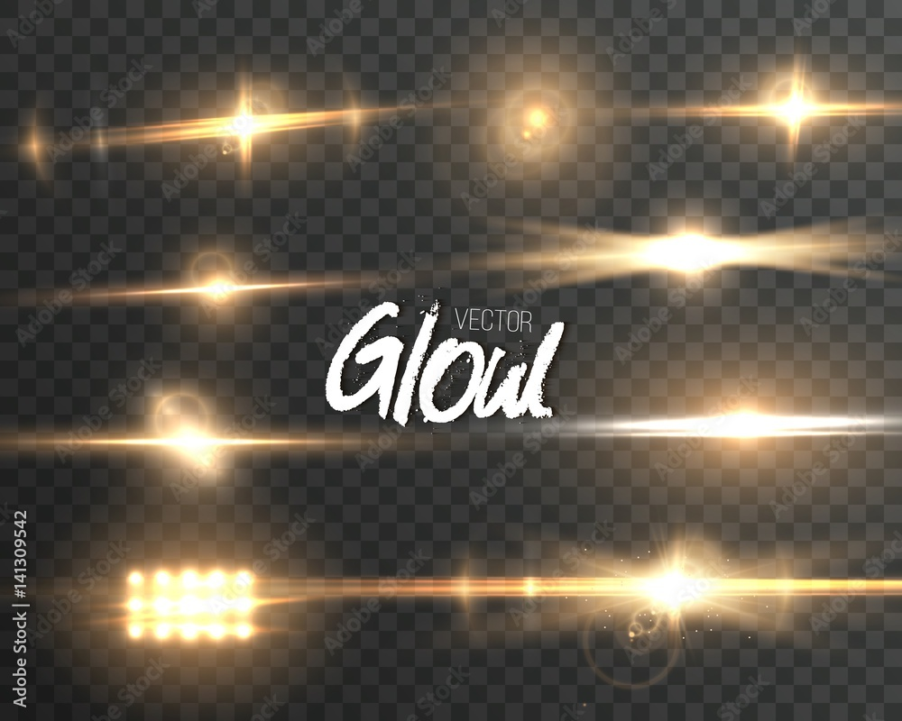 Fototapety, obrazy: Illustration of Vector Lens Flare Effect. Transparent Vector Glow Lens Flare Ray Effect. Vector EPS10 Bright Sunflare Explosion Template