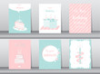Collection of greeting or birthday card, cake,vector illustrations