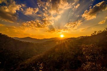 Fototapeta sunset in the mountai