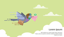 Pigeon Courier Flying Over The Sky Sending Electronic Mail Concept Flat Vector Illustration