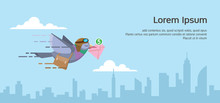 Pigeon Courier Flying Over The City Skyline. Sending Email Flat Vector Illustration