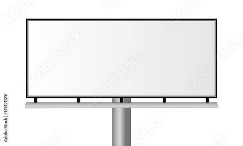 Obraz Blank city rectangular billboard isolated on white background. Mockup for advertising banners or design. Vector illustration - fototapety do salonu