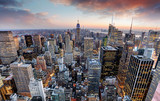 Fototapeta Nowy York - New York skyline at sunset, USA.