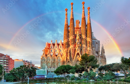 Deurstickers Barcelona Sagrada Familia in Barcelona, Spain,