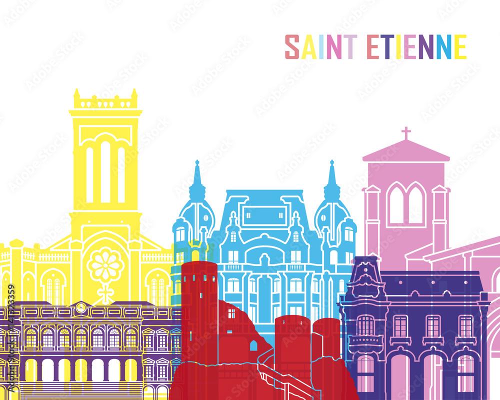 Fototapety, obrazy: Saint Etienne skyline pop