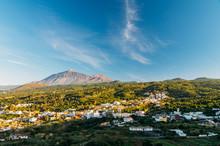 El Tanque Town Against Volcano...