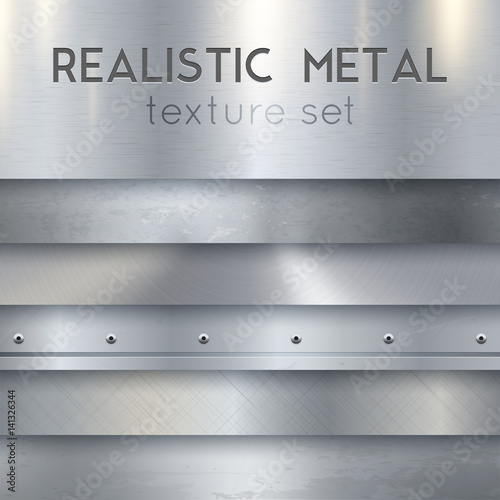 Poster Metal Metal Texture Realistic Horizontal Samples Set