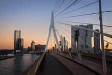 Erasmus Bridge Rotterdam And Bicycle Lane At Sunset , The Netherlands