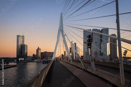 Foto op Canvas Rotterdam Erasmus bridge Rotterdam and bicycle lane at sunset , the Netherlands