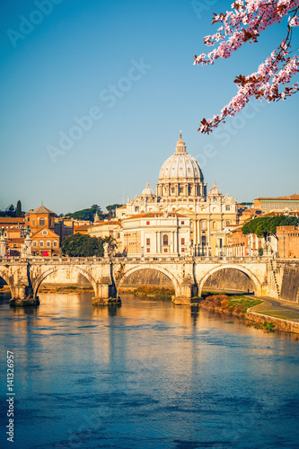 View at Tiber and St. Peter's cathedral in Rome at spring Plakát