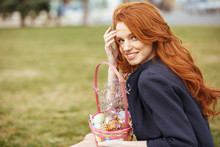 Girl With Long Hair Holding Easter Picnic Basket