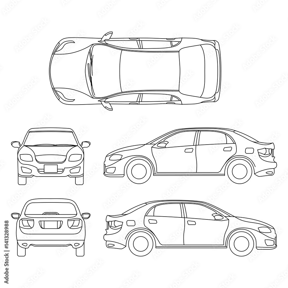 Fototapeta Outline sedan car vector drawing in different point of view