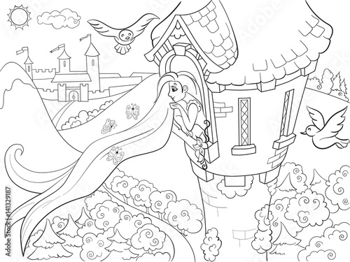 Princess Rapunzel in the stone tower coloring for children cartoon vector illust Canvas Print