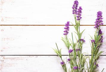 Provencal lavender on wooden background