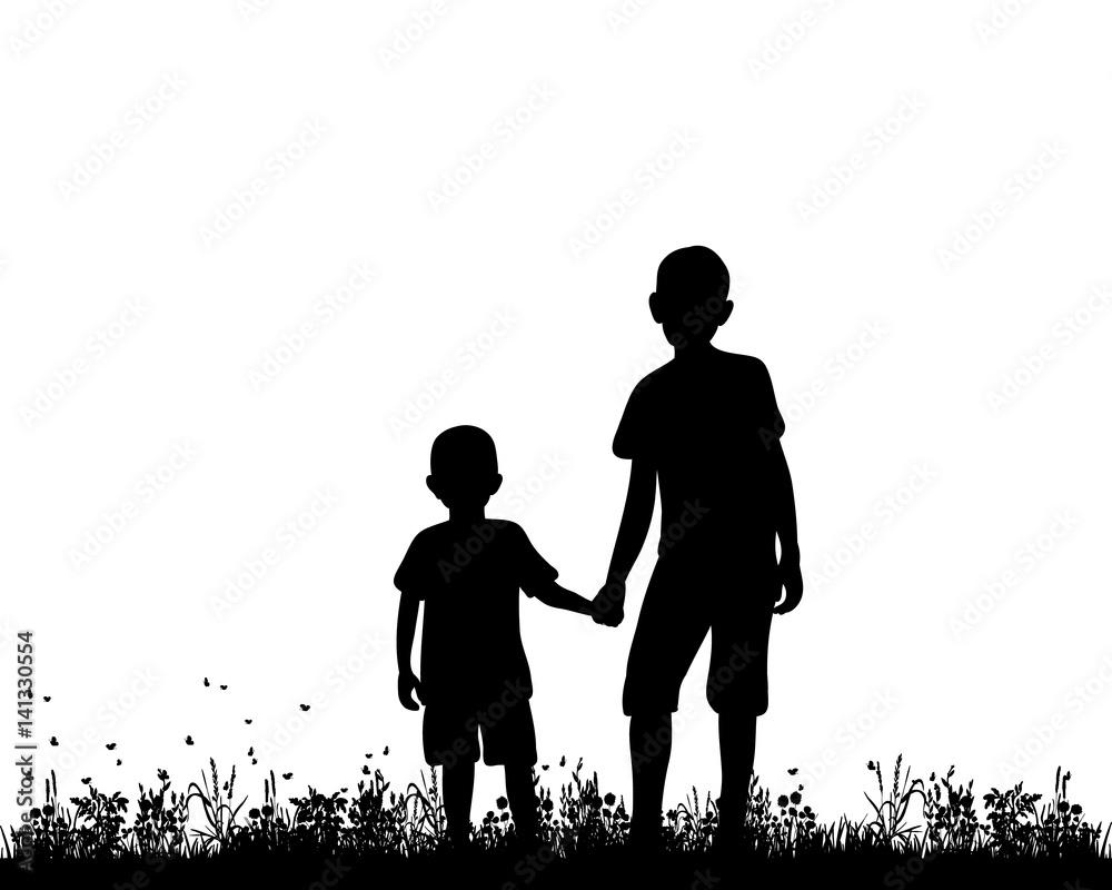 Fototapeta Vector silhouette of children holding hands