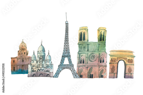 City of Paris Skyline famous landmarks travel and tourism waercolor illustration Wallpaper Mural